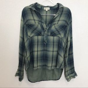 CLOTH & STONE Green Plaid Flannel Popover Shirt
